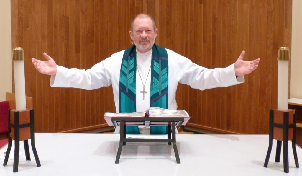 Pastor Bob leads service