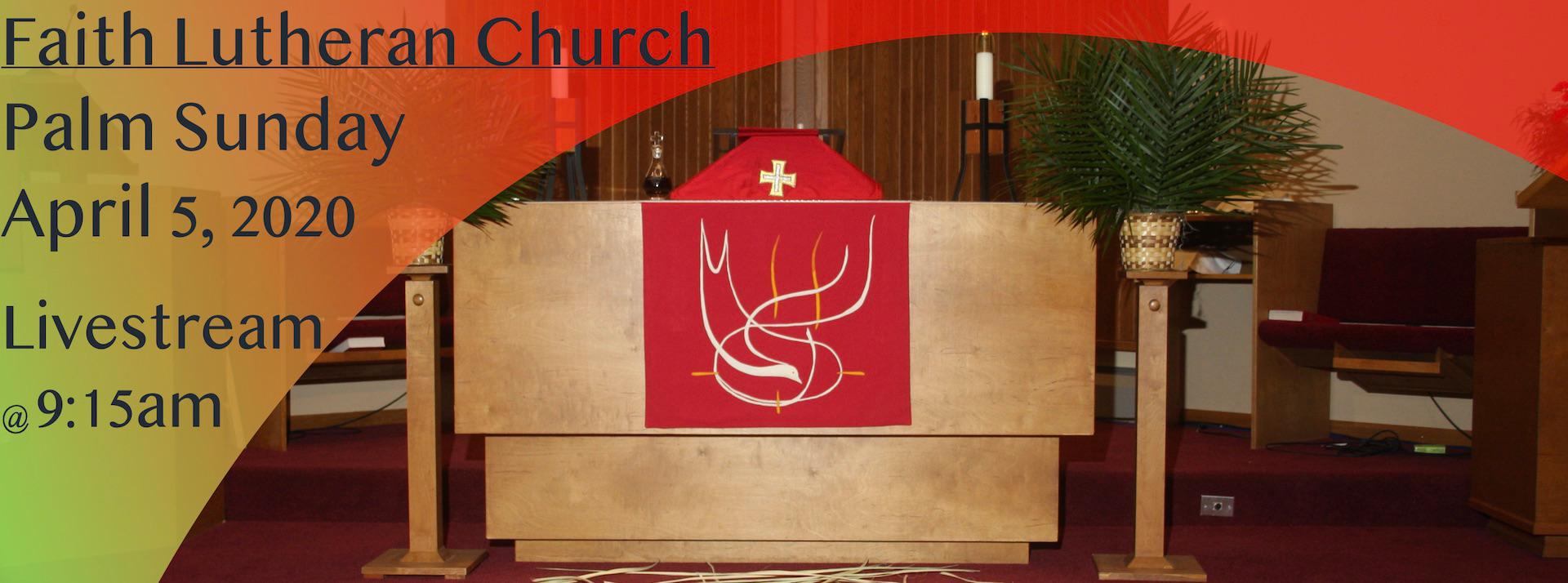 Livestream of Palm Sunday service, April 5